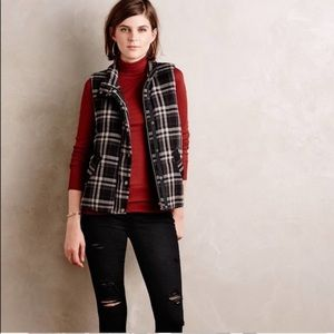 Anthropologie Hei Hei Quincy Plaid Vest in Black